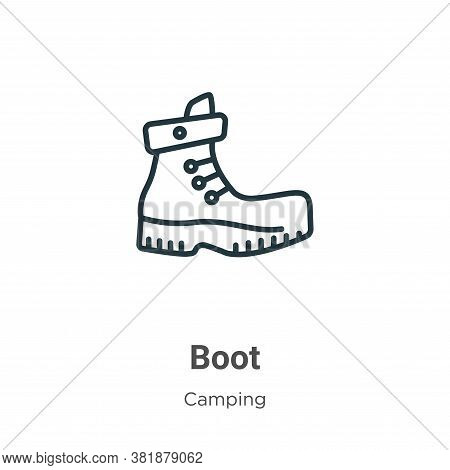 Boot icon isolated on white background from camping collection. Boot icon trendy and modern Boot sym