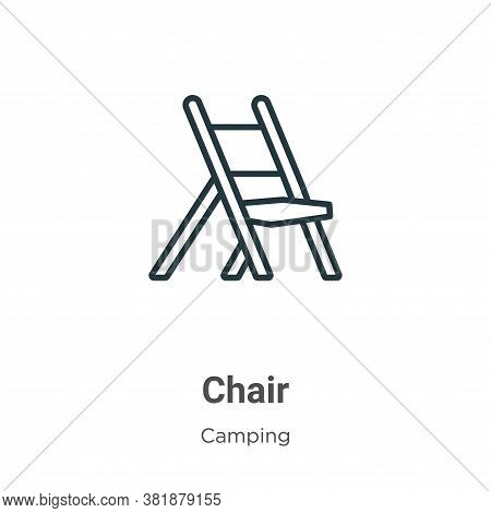 Chair icon isolated on white background from camping collection. Chair icon trendy and modern Chair