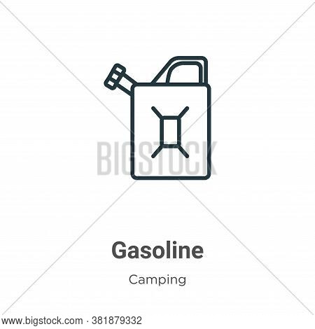 Gasoline icon isolated on white background from camping collection. Gasoline icon trendy and modern