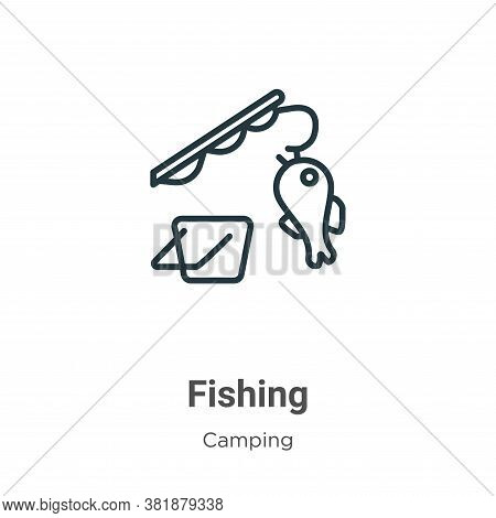Fishing icon isolated on white background from camping collection. Fishing icon trendy and modern Fi