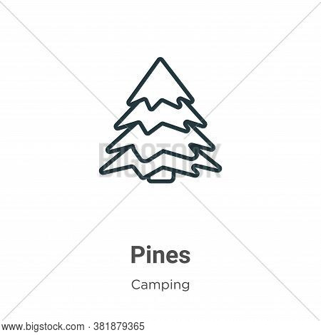 Pines icon isolated on white background from camping collection. Pines icon trendy and modern Pines