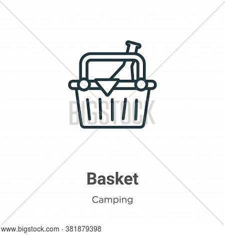 Basket icon isolated on white background from camping collection. Basket icon trendy and modern Bask