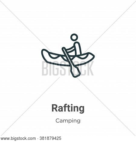 Rafting icon isolated on white background from camping collection. Rafting icon trendy and modern Ra