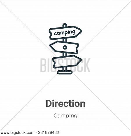 Direction icon isolated on white background from camping collection. Direction icon trendy and moder