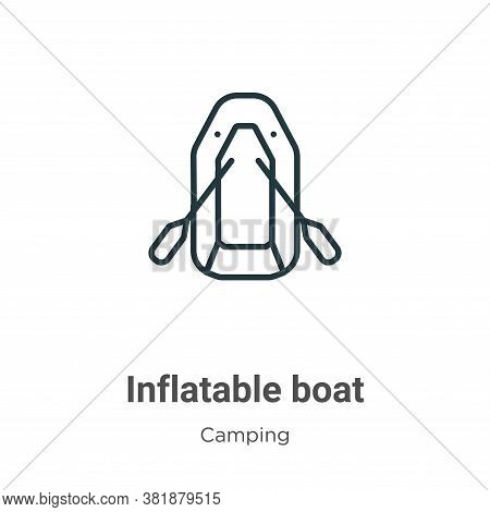 Inflatable boat icon isolated on white background from camping collection. Inflatable boat icon tren