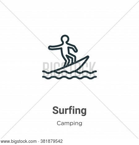 Surfing icon isolated on white background from camping collection. Surfing icon trendy and modern Su