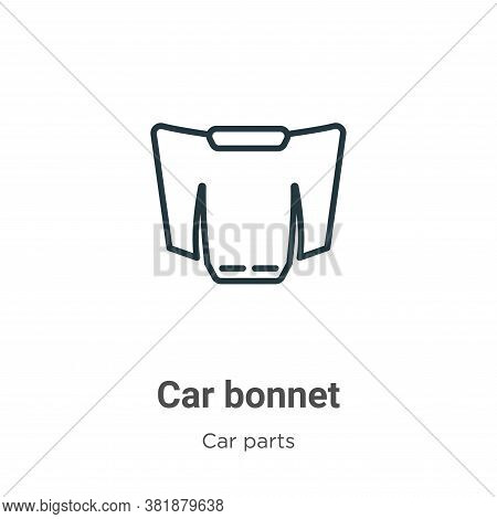 Car Bonnet Icon From Car Parts Collection Isolated On White Background.