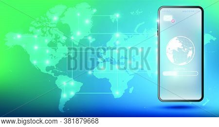 Email Marketing Concept With Smartphone. Distance Education And Training. Smartphone Loading Informa