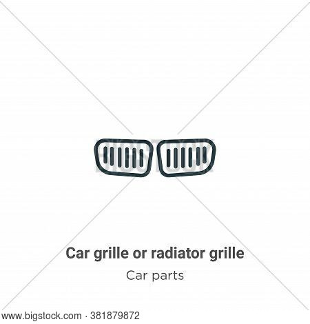 Car grille or radiator grille icon isolated on white background from car parts collection. Car grill