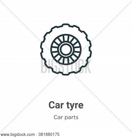Car tyre icon isolated on white background from car parts collection. Car tyre icon trendy and moder