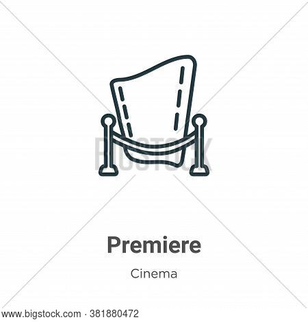 Premiere icon isolated on white background from cinema collection. Premiere icon trendy and modern P