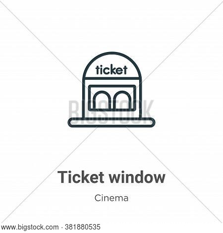 Ticket window icon isolated on white background from cinema collection. Ticket window icon trendy an