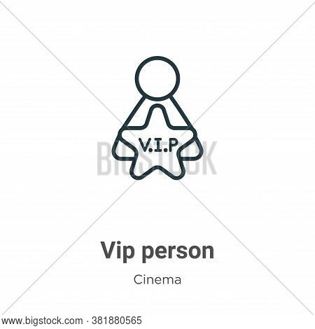 Vip person icon isolated on white background from cinema collection. Vip person icon trendy and mode