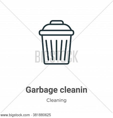 Garbage cleanin icon isolated on white background from cleaning collection. Garbage cleanin icon tre