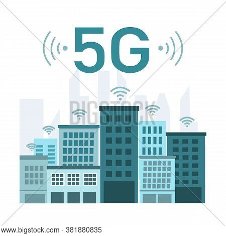 5g Wireless Network Concept Vector Illustration On White Background. Urban City With Service Connect