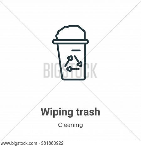 Wiping trash icon isolated on white background from cleaning collection. Wiping trash icon trendy an