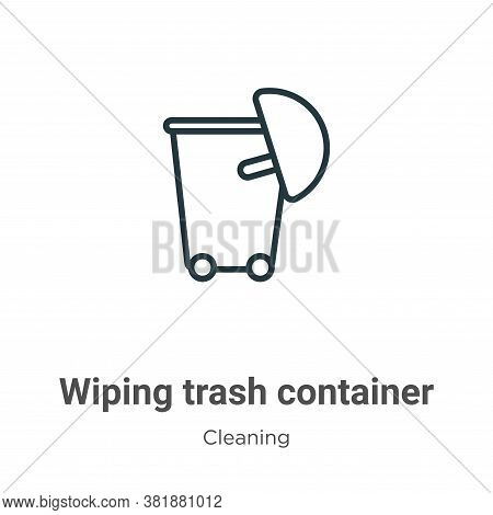Wiping trash container icon isolated on white background from cleaning collection. Wiping trash cont