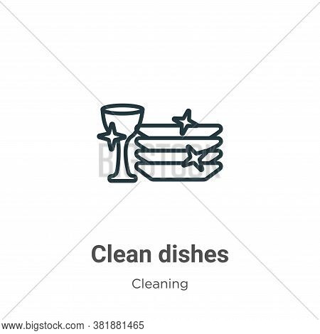 Clean dishes icon isolated on white background from cleaning collection. Clean dishes icon trendy an