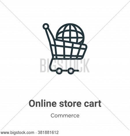 Online store cart icon isolated on white background from commerce collection. Online store cart icon