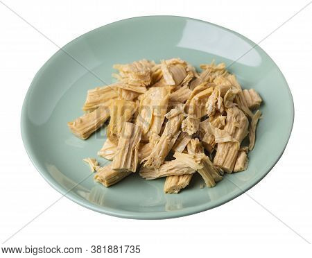 Soy Asparagus Noodles On Light Green Plate, Isolated On A White Background. Healthy Food . Asian Foo