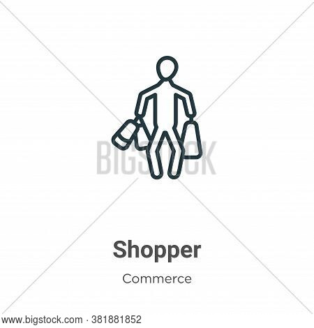 Shopper icon isolated on white background from commerce collection. Shopper icon trendy and modern S