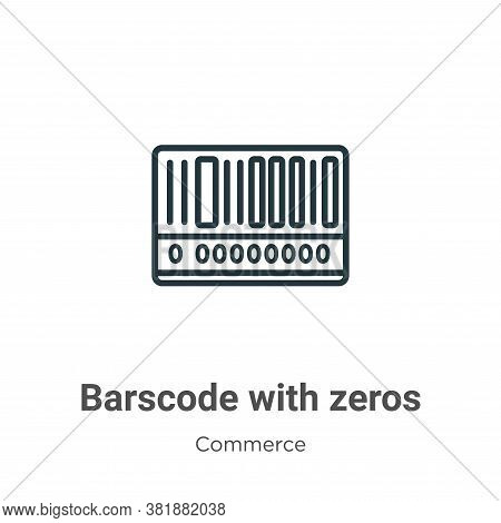 Barscode with zeros icon isolated on white background from commerce collection. Barscode with zeros