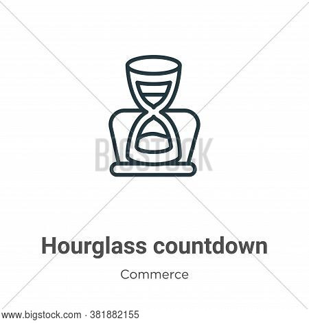 Hourglass countdown icon isolated on white background from commerce and shopping collection. Hourgla