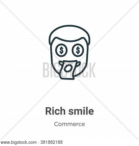 Rich smile icon isolated on white background from commerce and shopping collection. Rich smile icon