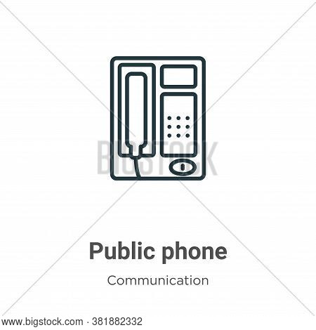 Public phone icon isolated on white background from communication collection. Public phone icon tren