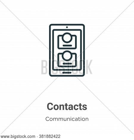 Contacts icon isolated on white background from communication collection. Contacts icon trendy and m