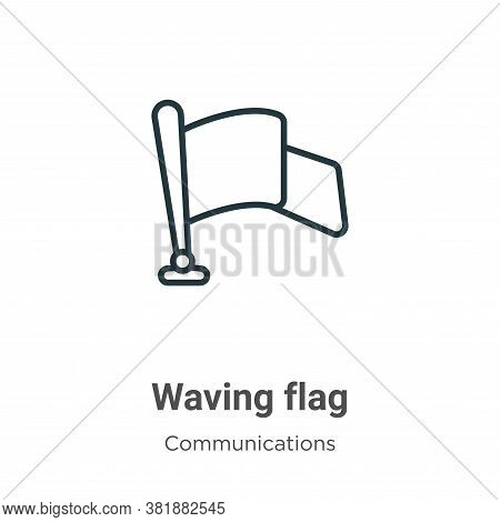 Waving flag icon isolated on white background from communications collection. Waving flag icon trend
