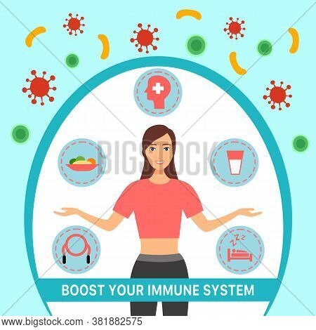 Boost Your Immune System Concept Vector Illustration. Healthy Woman Reflect Bacteria And Virus Attac