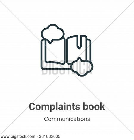 Complaints book icon isolated on white background from communications collection. Complaints book ic