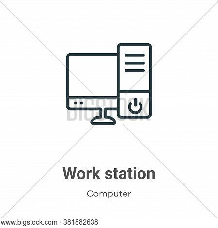 Work station icon isolated on white background from computer collection. Work station icon trendy an