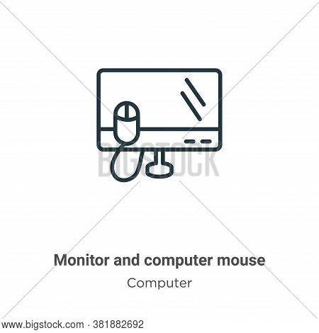 Monitor and computer mouse icon isolated on white background from computer collection. Monitor and c