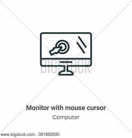 Monitor with mouse cursor icon isolated on white background from computer collection. Monitor with m