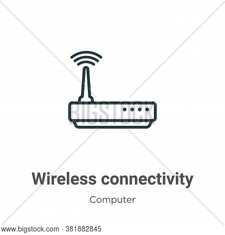 Wireless connectivity icon isolated on white background from computer collection. Wireless connectiv