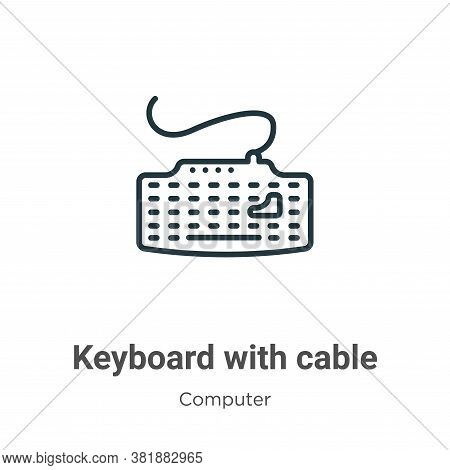 Keyboard with cable icon isolated on white background from computer collection. Keyboard with cable