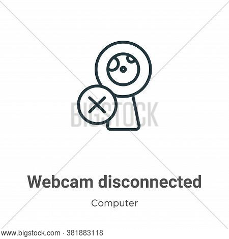 Webcam disconnected icon isolated on white background from computer collection. Webcam disconnected