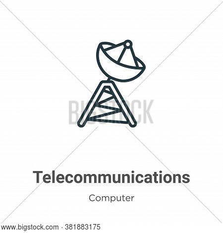Telecommunications icon isolated on white background from computer collection. Telecommunications ic