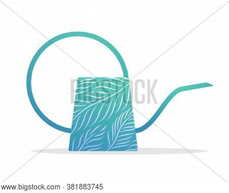 Turquoise Watering Can. Side View Of Gardening Tool Equipment For Plant Watering And Care Flat Vecto