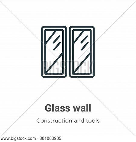 Glass wall icon isolated on white background from construction and tools collection. Glass wall icon