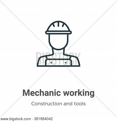 Mechanic working icon isolated on white background from construction and tools collection. Mechanic