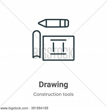 Drawing icon isolated on white background from construction tools collection. Drawing icon trendy an