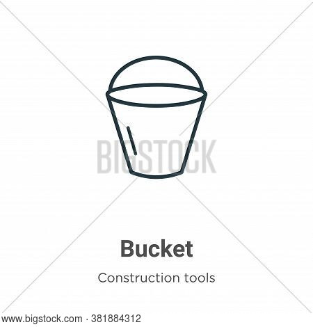 Bucket icon isolated on white background from construction tools collection. Bucket icon trendy and