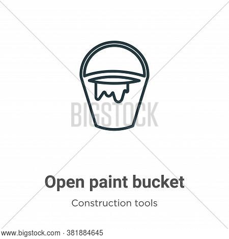 Open paint bucket icon isolated on white background from tools collection. Open paint bucket icon tr