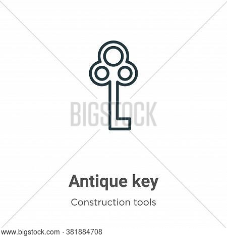 Antique key icon isolated on white background from tools collection. Antique key icon trendy and mod
