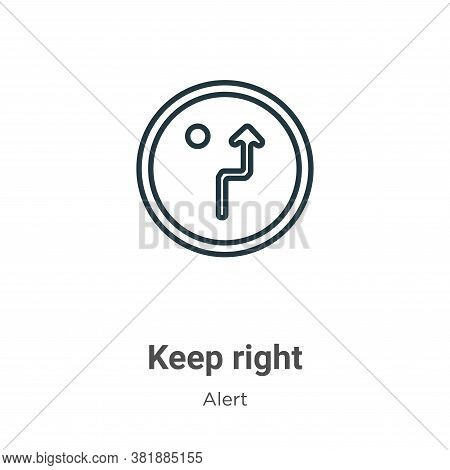 Keep right icon isolated on white background from alert collection. Keep right icon trendy and moder
