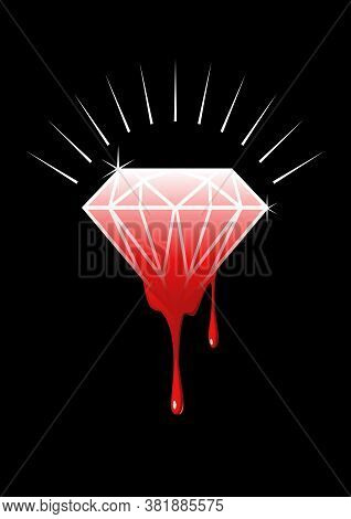 Conceptual Illustration Of Blood Diamonds (also Called Conflict, War, Hot, Or Red Diamonds) Is A Ter