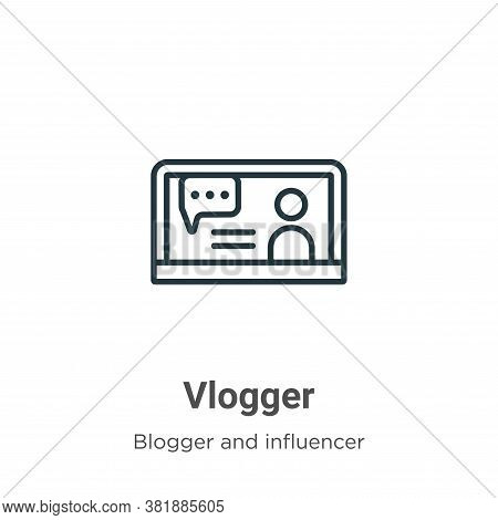 Vlogger icon isolated on white background from blogger and influencer collection. Vlogger icon trend
